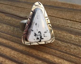 White Buffalo Ring, White Buffalo Turquoise Jewelry, White Turquoise,  Turquoise Jewelry, Gem Stone Jewelry, Southwestern Jewelry,