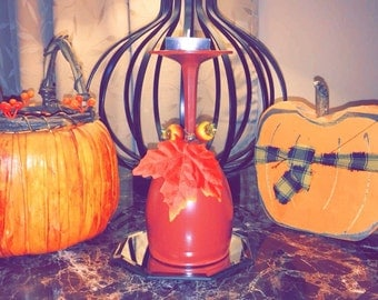 Fall Hand painted Wine Glass Candle Holder