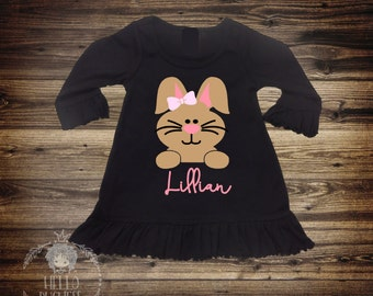 2 Day Sale! Personalized Bunny Shirt - Baby Girl Clothes - Baby Girl Easter Shirt - Baby Girl Easter Dress- Bunny Shirt - Personalized 198