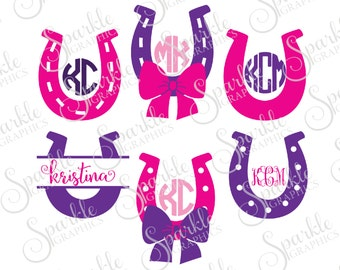 Horseshoe Monogram Frame Set Cut File Western Cowgirl Bow Lucky Horseshoe Clipart Svg Dxf Eps Png Silhouette Cricut Cut File Commercial Use