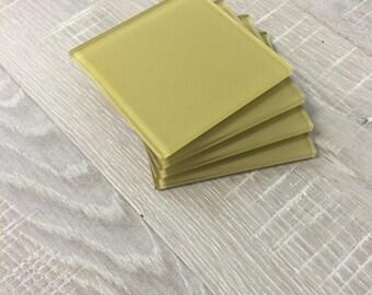 Yellow Glass Coasters ( set of 4 )