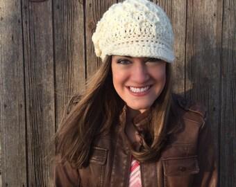 Irish Crochet Newsboy Hat, Irish Rose and Leaf Crochet Hat, Cable Newsboy Hat, Women's Reverse Double Crochet, Newsboy Cap with Visor Brim