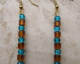Amber and turquoise beaded earrings