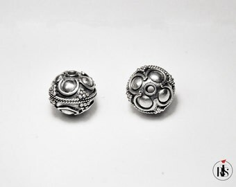 1 Sterling Silver Bead – Small round with Bali Ornament 12mm (0.47 inch) - bos011