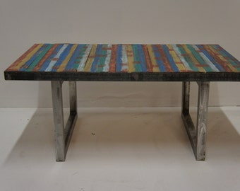 Wood and Metal Coffee table W multicolored