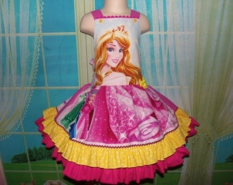 Patchwork  Sleeping Beauty Princess Aurora Costume,Birthday, Tea Party Fairy tale Dress  Size 5 Ready to ship(see measurements)