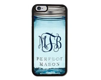 Custom Monogrammed Mason Jar Iphone 6/6S/6 Plus, 5/5S, 5C, 4/4S Case Personalized Monogram
