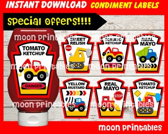 80% OFF SALE Label Construction  Condiments Label instant download, Printable Tonka Truck Condiments Label , Truck Party Condiments Label