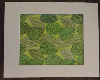 Watercolor Pencil picture, Foilage 8x10 or 5x7