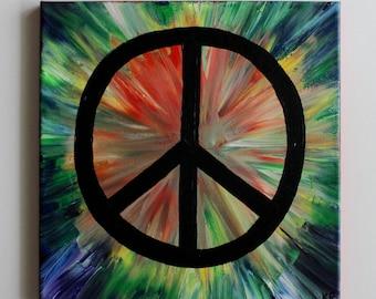 Rainbow Art, Tie Dye Art, Hippie Art, Peace Sign Art, Handmade, Hippie Painting, Abstract Painting, Acrylic Painting 12x12 Canvas