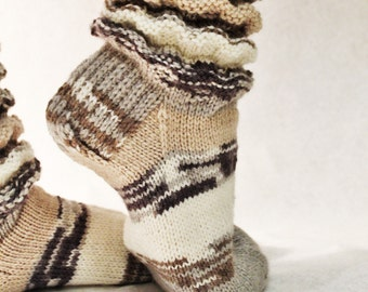 Hand knitted socks. Knit socks. Winter socks. Patterned socks.
