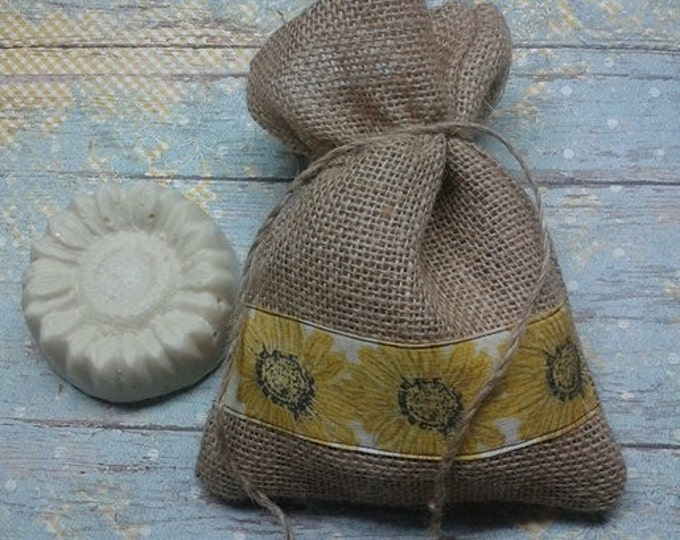 Sunflowers and Silk Soap, with Wildcrafted Sunflower Oil and Real Silk, Silk Soap, Facial Soap,  Sunflowers