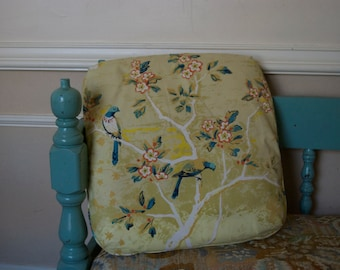 Yellow Pillow with Bird and Floral Design