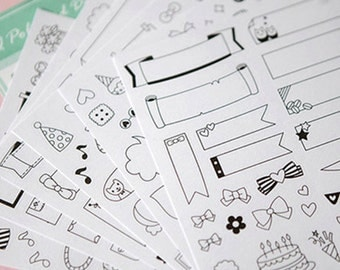 Coloring Stickers for Planners | Banners and Speech Bubbles