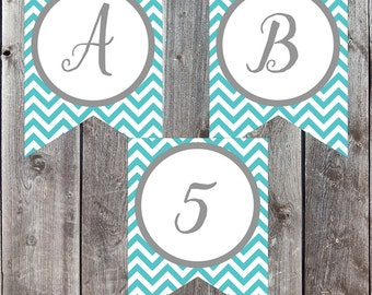 Party Banner, Blue White, Printable Letters, Birthday Banner, Birthday Decorations, Baby Shower Banner, Personalized Banners, Custom Banner