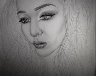 CUSTOM- Hand Drawn Portrait A4 (Black & White)