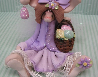FREE SHIPPING! Polymer Clay Art Easter Bunny Rabbit in Purple Dress Sculpture