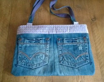 Upcycled denim handbag. Dark blue denim bag. Casual/day bag.