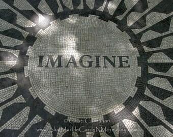 IMAGINE CARD, John Lennon Tribute, Thank You, Happy Birthday, New York, Mosaic, Central Park, Blank Greeting Card CIMA-001
