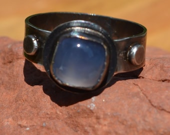 Sterling Silver Ring with Blue Chalcedony Cabochon