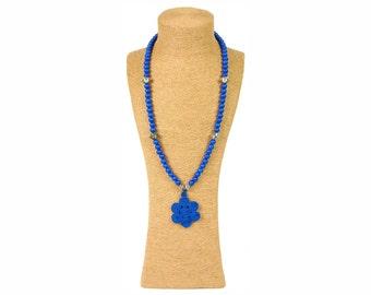 Blue Moroccan Necklace / Sautoir à perles en bois bleu - Blue wooden beads / Pendentif passementerie - Trimmings pendant