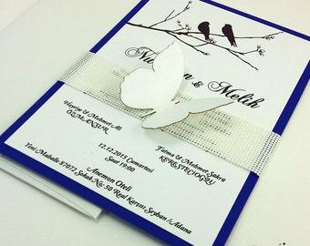 Butterfly Wedding Invitations, Navy Blue Wedding Invitations, Rustic Wedding Invitation, Romantic Invitation, Butterfly, Birds, 1 INVITATION