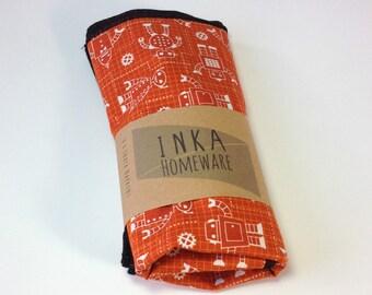 ON SALE - Cloth Napkin - Organic Robot Napkin - Eco Friendly - Table Linens - Kids lunch napkin - Nerd Gifts - New Mom Gift - Kitchen Linen