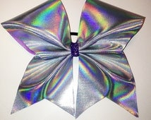 Cheer bow - silver holographic fabric covered bow