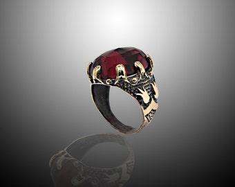 Broze Women Ring , Garnet,Turquoise,Amethyst,Jade,Agate Stone Free Shipping