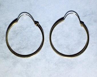 14 Karat Gold Hoop Earrings with Loop 24mm