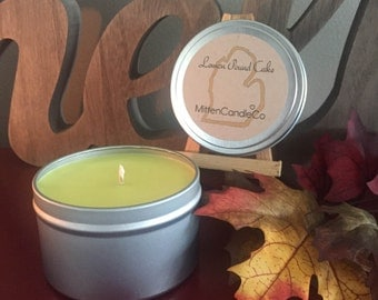 Lemon Pound Cake Scented Soy Candle Tin or Wax Melt - Dessert Candle - Fresh Scent - 4 or 8 ounce