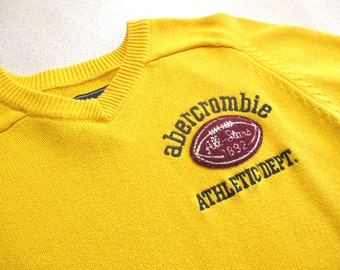 Vintage Football Sweater by Abercrombie, Golden Yellow, XL Runs Small
