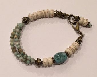 Triple and singe strand earthtone bracelet #3