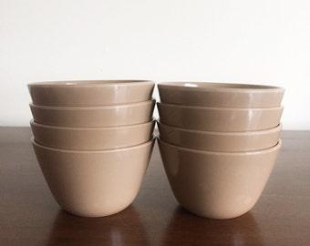 Retro Mocha Melamine Bowls - Set of 8