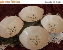 """Fall Clearance Sale Set of 4 Crooksville China 6.75"""" Lugged or Tab Handled Cereal Soup Bowls - Green and Gold Windfowers on Ivory Background"""