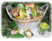 Votive Candle Gift Basket-Melon