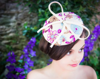 Paribuntal Straw Hat With Embroidery And Applique Bow