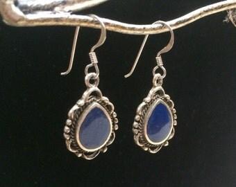 Blue Teardrop Sterling Silver Dangle Earrings