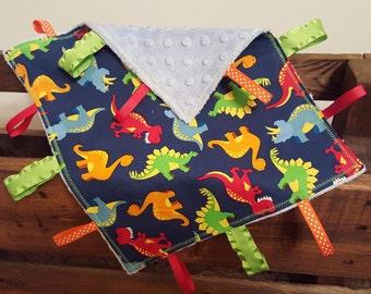 Dinosaur Tag Blanket - Sensory Blanket - Lovey