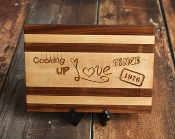 Fun Custom Cutting Board Cooking Up Love Design with Maple and Black Walnut Wood, Personalized Serving Tray