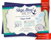 Whale Themed Baby Shower Invite | Ships Ahoy, It's a Boy! Printable shower invitation | Printable party invitation {digital download}