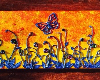 Sunset, wall art, polymer clay on canvas, acrylics, glass, 36x12, butterfly.