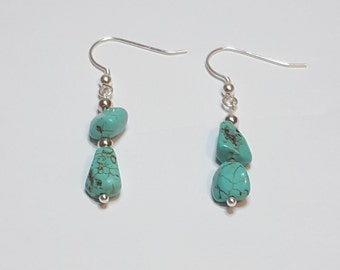 Turquoise and Silver Dangle Earrings - Free Domestic Shipping