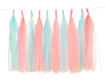 Tissue Paper Tassels, Light Blue and Blush Tassel Garland, Gender Reveal Party Photo Backdrop, Baby Shower Buffet Table Decor, Bridal Shower