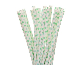 Paper Straws, Light Blue and Green Small Polka Dot Paper Straws, Spa Party Supplies, Pool Party Paper Straws, Under the Sea Party Supplies