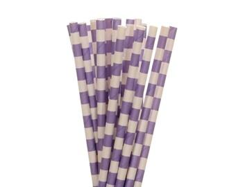 Paper Straws, Lavendar Rugby Horizontal Striped Paper Straws, Lavendar Birthday Party Paper Straw, Spring Party Decor, Bridal Shower Straws