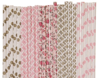 Paper Straw Mix, Light Pink Gold Floral Damask Polka Dot Paper Straws, Garden Tea Party Decoration, Floral Bridal Shower Brunch Paper Straws