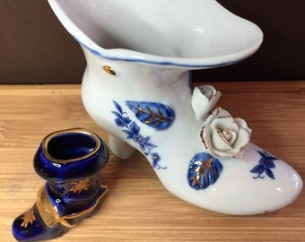 Two Vintage White and Blue Miniature Boots-  One Limoges and One ??