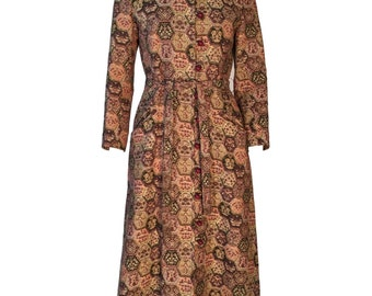 Vintage 1970s Tapestry Coat Maxi Length Hooded With Belt UK 8