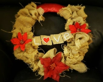 Lovey dovey Burlap wreath with beautiful red poinsettias